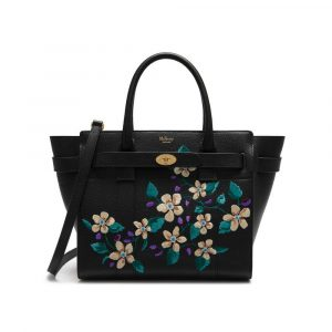 Mulberry Black Flower Embroidery Small Zipped Bayswater Bag