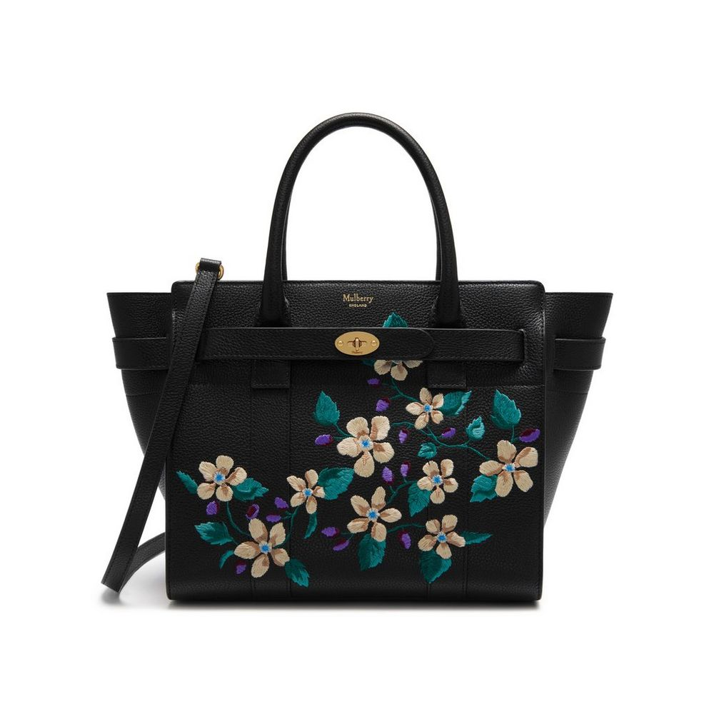 5fb762247a22 Mulberry Black Flower Embroidery Small Zipped Bayswater Bag