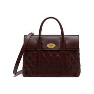 Mulberry Burgundy Quilted Smooth Calf Bayswater with Strap Bag