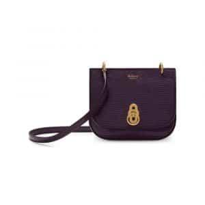 Mulberry Dark Violet Embossed Lizard Mini Amberley Satchel Bag