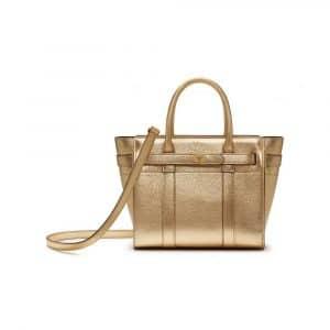 Mulberry Gold Metallic Printed Goat Mini Zipped Bayswater Bag