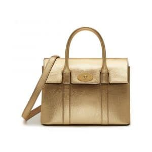 Mulberry Gold Metallic Printed Goat Small Bayswater Bag