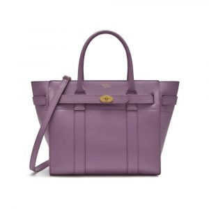 Mulberry Lilac Small Classic Grain Small Zipped Bayswater Bag