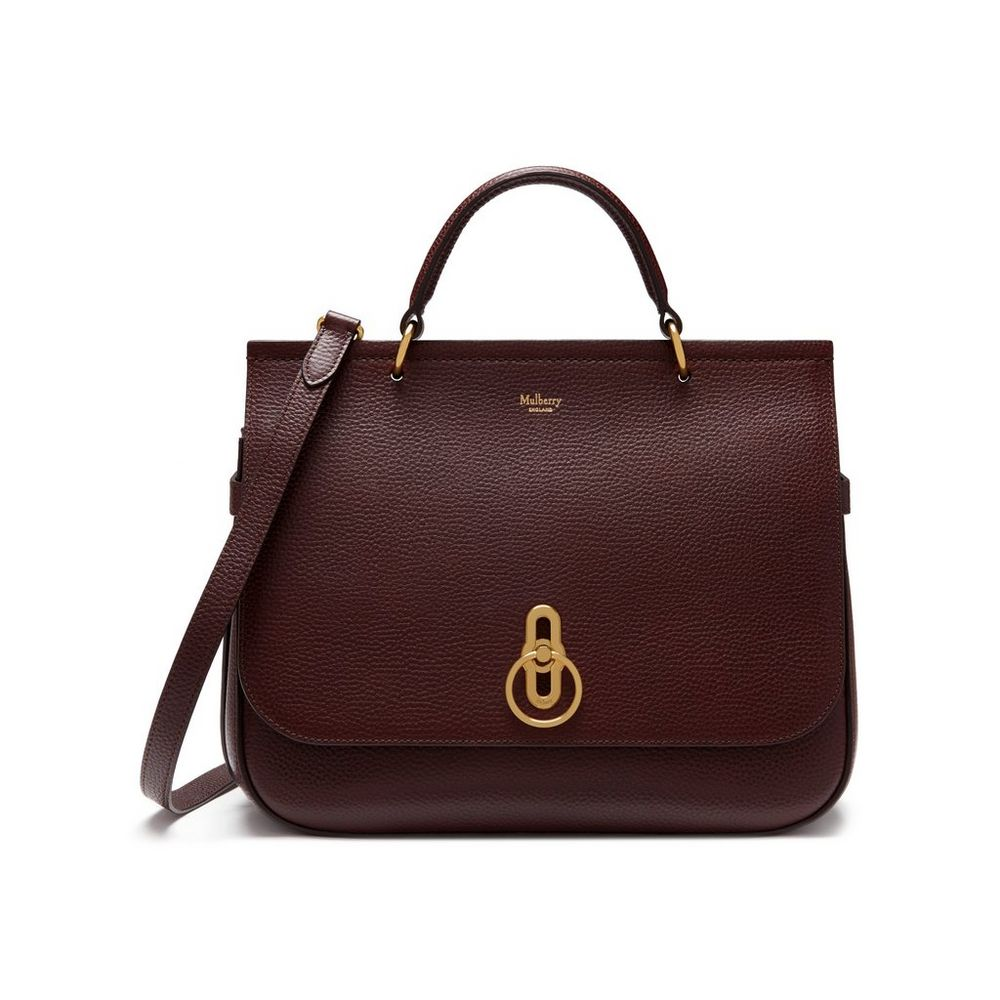 Mulberry Oxblood Natural Grain Leather Amberley Bag