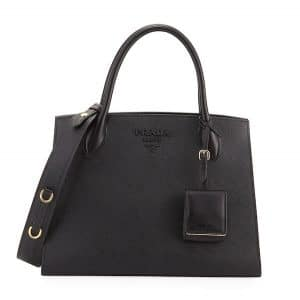 Prada Black Monochrome Saffiano Large Top Handle Bag