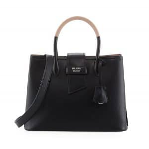 Prada Black/Beige Top Handle Tote Bag