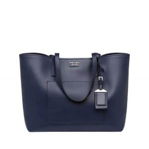 Prada Blue/Black City Calf Large Tote Bag