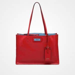 Prada Fire Engine Red/Astral Blue Etiquette Tote Bag