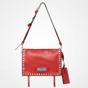 Prada Fire Engine Red/Astral Blue Studded Etiquette Small Shoulder Bag