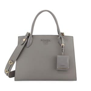 Prada Light Gray Monochrome Saffiano Large Top Handle Bag
