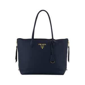 Prada Navy Daino Double Handle Tote Bag
