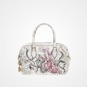 Prada Opaline Bunny Embossed Top Handle Bag