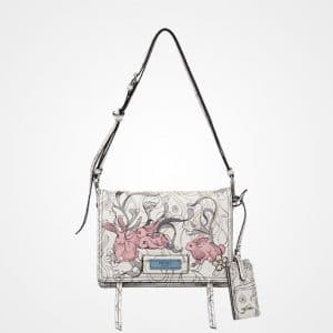 Prada Opaline/Astral Blue Bunny Printed Etiquette Shoulder Bag
