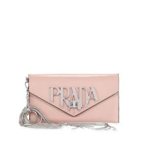 Prada Peach Logo Envelope Clutch Bag