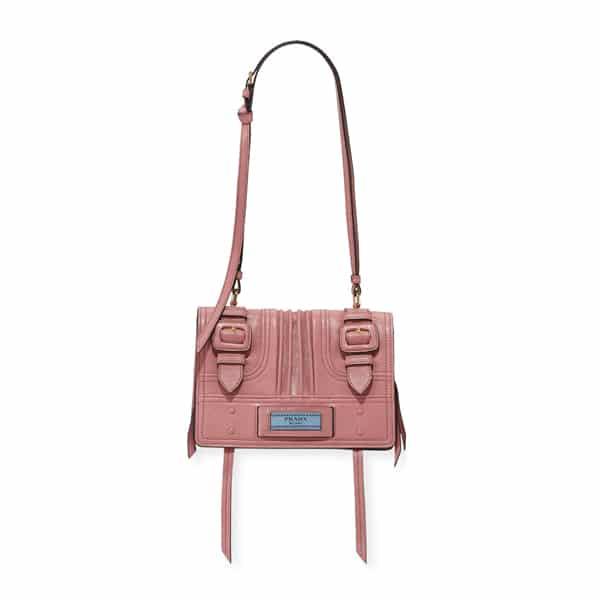 31c3d2b146 Prada Pink Etiquette Patch Small Shoulder Bag