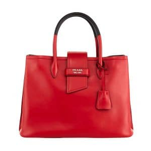 Prada Red/Black Top Handle Tote Bag