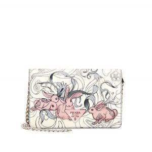 Prada White Bunny Print Cross-body Bag