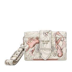 Prada White Bunny Printed Cahier Bag