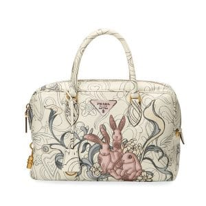 Prada White Bunny Printed Top Handle Bag