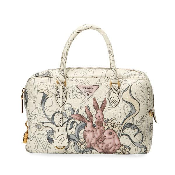Prada White Bunny Printed Top Handle Bag ec2365e6500a5