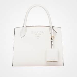 Prada White Monochrome Saffiano Top Handle Bag