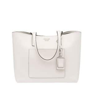 Prada White/Black City Calf Large Tote Bag