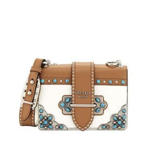 Prada White/Tan Folk Cahier Bag