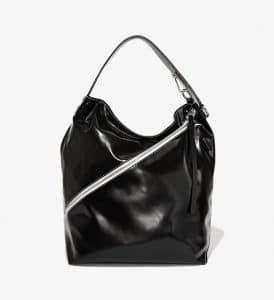 Proenza Schouler Black Ciré Large Hobo Bag