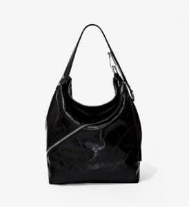 Proenza Schouler Black Embossed Crocodile Medium Hobo Bag
