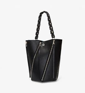 Proenza Schouler Black Zip Hex Medium Bucket Bag