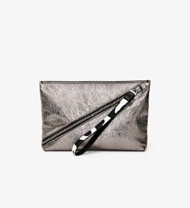 Proenza Schouler Dark Silver Pebbled Leather Zip Pouch Bag