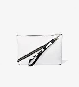 Proenza Schouler Optic White Pebbled Leather Zip Pouch Bag