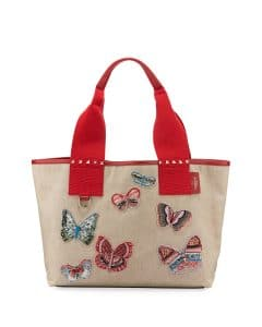 Valentino Beige Butterfly Embroidered Grande Plage Tote Bag