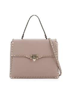 Valentino Beige Rockstud Medium Top Handle Satchel Bag