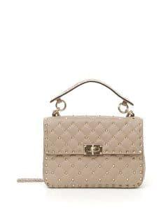 Valentino Beige Rockstud Spike Medium Shoulder Bag