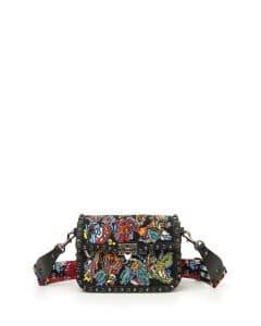 Valentino Black Embroidered Guitar Rockstud Rolling Noir Shoulder Bag