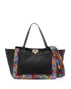 Valentino Black Embroidered Rockstud Tote Bag