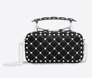 Valentino Black Free Rockstud Spike Camera Bag