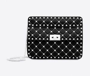 Valentino Black Free Rockstud Spike Medium Chain Bag