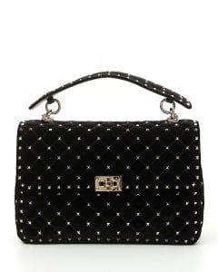 Valentino Black Velvet Rockstud Spike Large Shoulder Bag