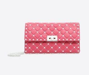 Valentino Bright Pink Free Rockstud Spike Chain Shoulder Bag