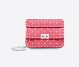 Valentino Bright Pink Free Rockstud Spike Small Chain Bag