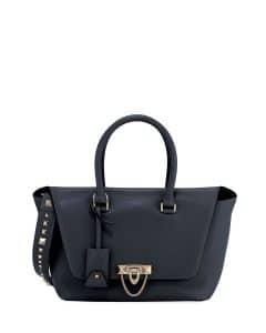 Valentino Dark Blue Demilune Small Top Handle Bag