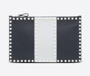 Valentino Dark Blue Free Rockstud Flat Pouch Bag