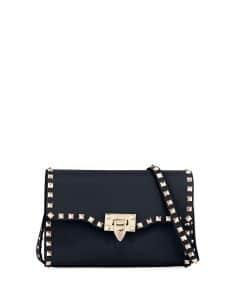 Valentino Dark Blue Rockstud Medium Shoulder Bag