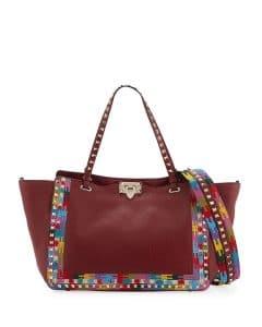 Valentino Dark Red Embroidered Rockstud Tote Bag