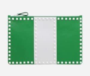 Valentino Green Free Rockstud Flat Pouch Bag
