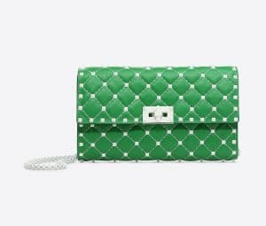 Valentino Green Free Rockstud Spike Chain Shoulder Bag