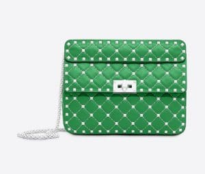 Valentino Green Free Rockstud Spike Medium Chain Bag