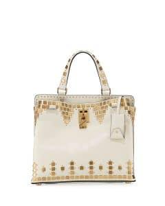 Valentino Ivory Embellished Joylock Medium Top Handle Bag